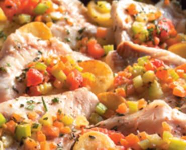 Roodbaars met groente uit de oven