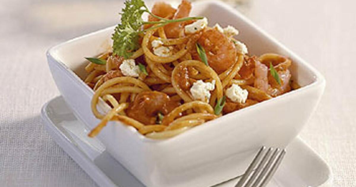 Spaghetti met roze garnalen